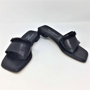 Robert Clergerie Slides Black Leather Beaded 7.5